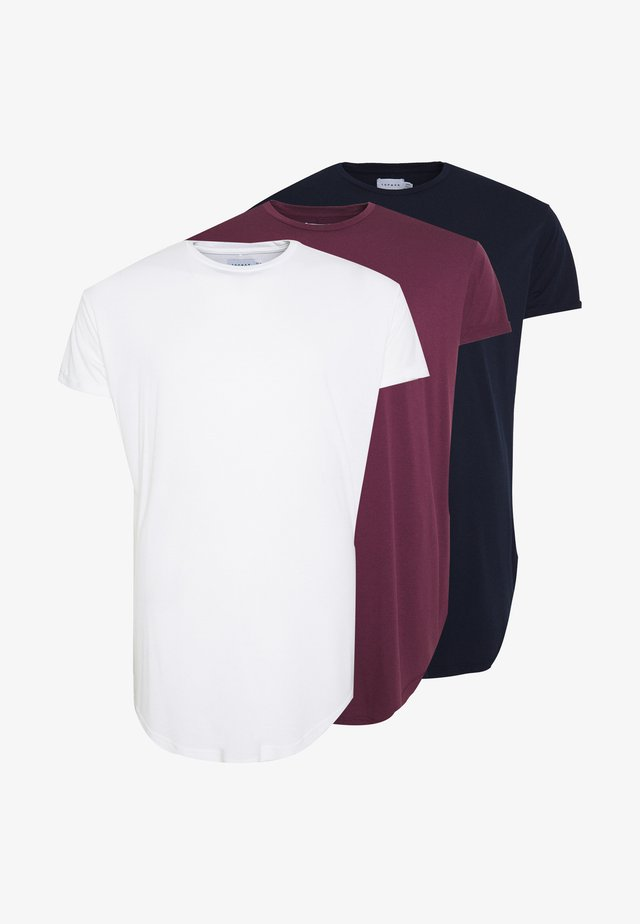 SCOTTY  3 PACK - Basic T-shirt - white/dark blue/burgundy