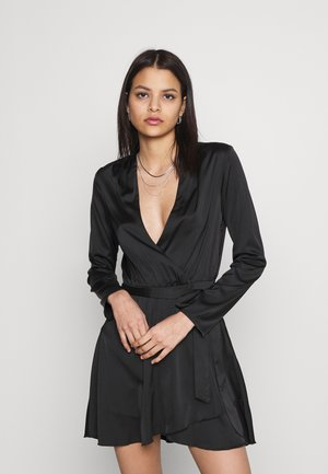 BELTED WRAP DRESS - Cocktail dress / Party dress - black