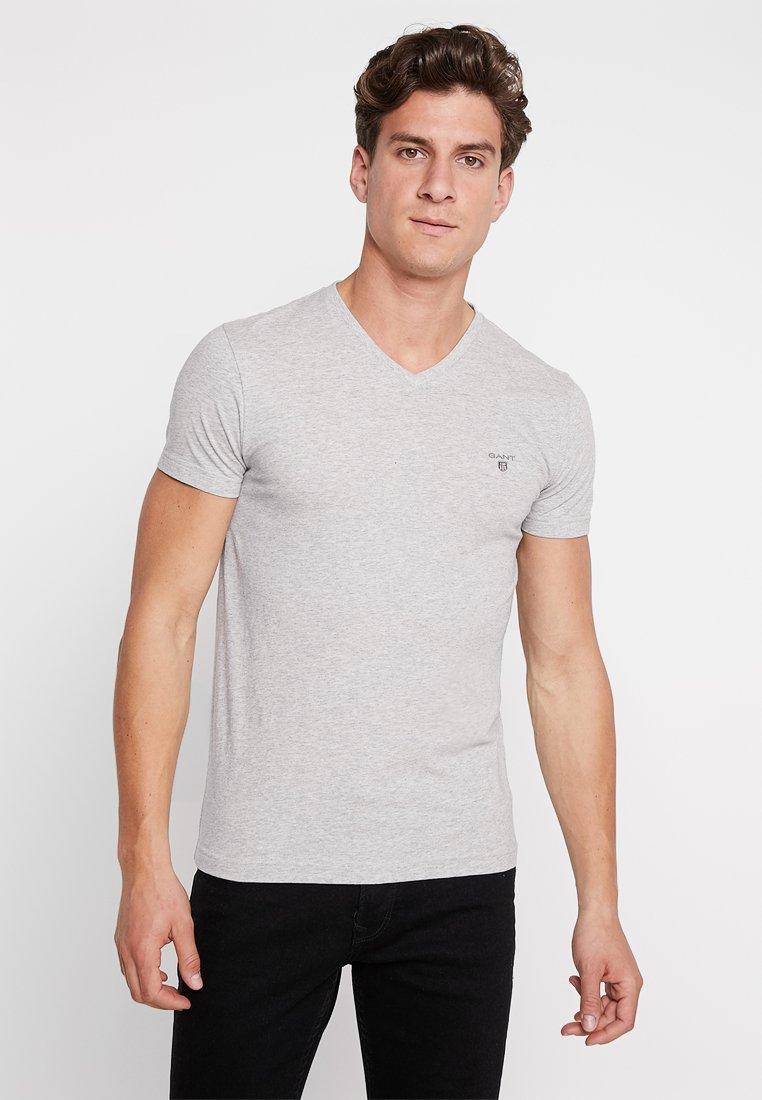 GANT - ORIGINAL SLIM V NECK - T-shirt - bas - light grey melange