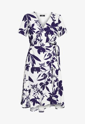 ABSTRACT FLORAL FIT AND FLARE WRAP DRESS - Vestido informal - ivory