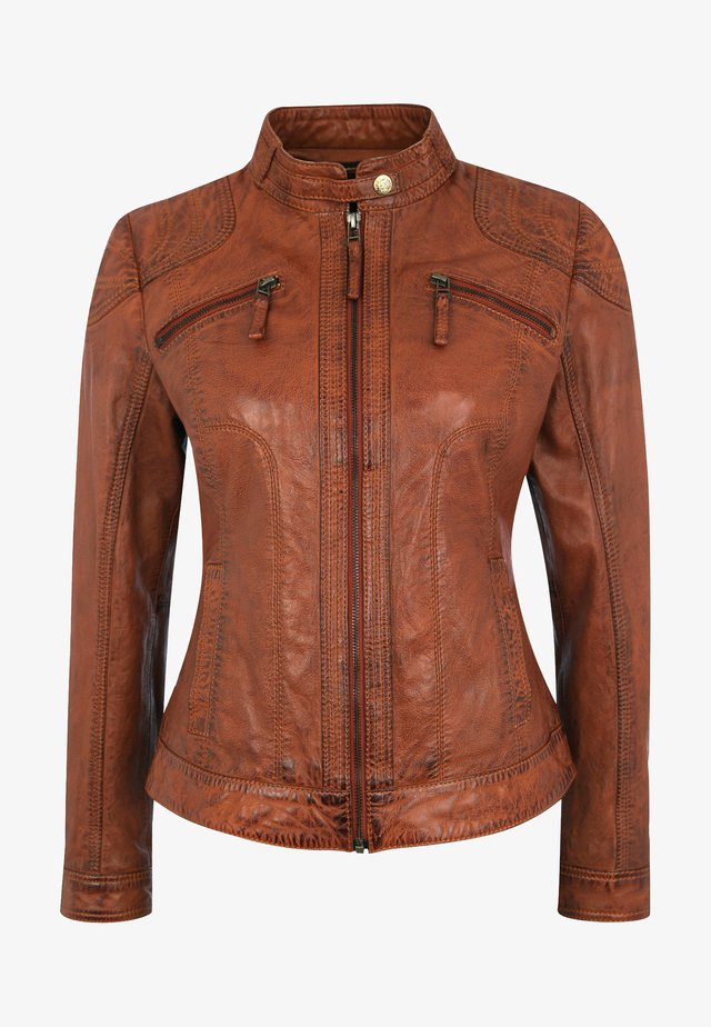 APPLE OF EDEN LEDERJACKE BROWNY - Lederjacke - cognac
