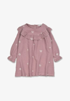 EMBROIDERED RUFFLED - Korte jurk - copper