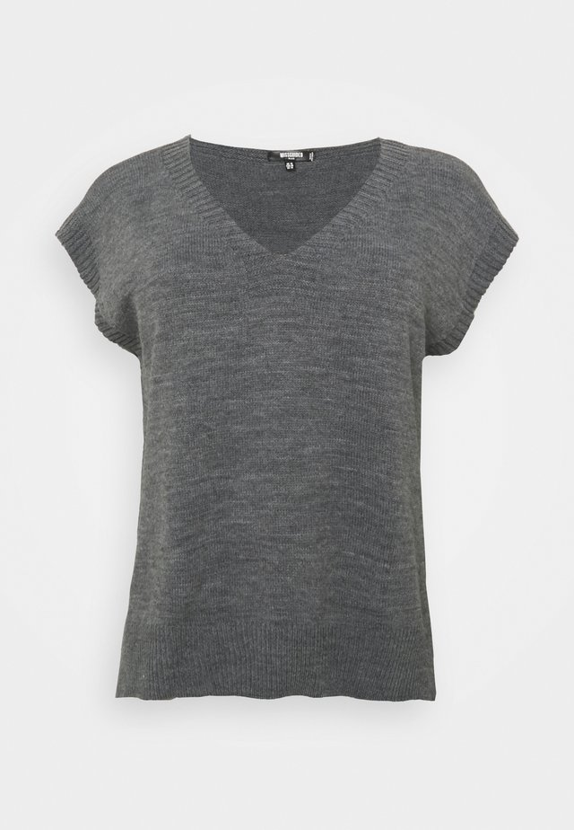 V NECK SLEEVELESS - T-shirt basique - grey marl