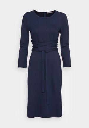 WRAP PUNTO MINI QUARTER SLEEVES DRESS - Jerseykjole - dark blue