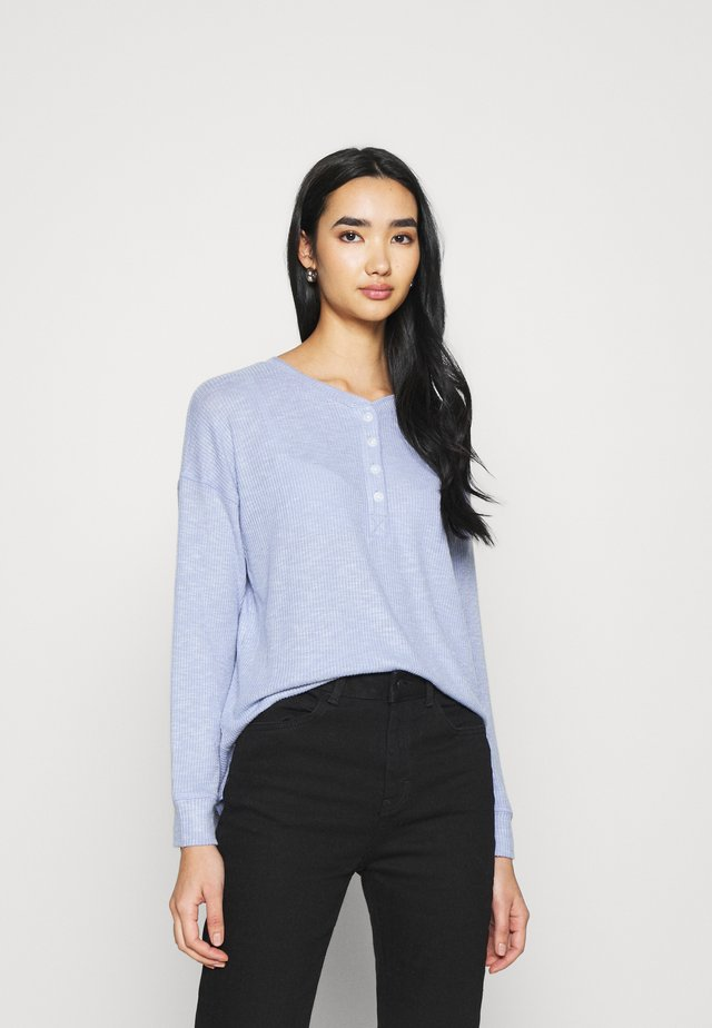 STITCHED HENLEY PLUSH - Long sleeved top - blue