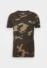 Print T-shirt - mottley green