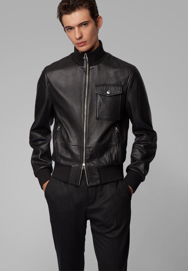 BOSS - MATEK - Leather jacket - black