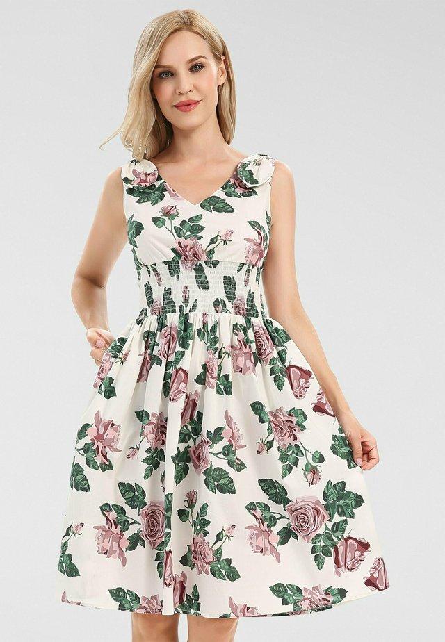 Korte jurk - creme-multicolor