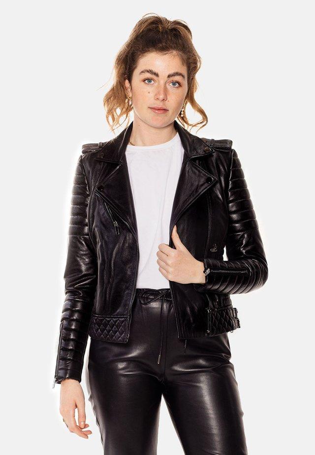 ALEX PERFECTO - Skinnjacka - black with darkened silver accessories