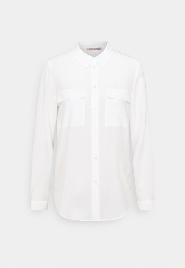 Basic Blouse with front pockets - Hemdbluse - offwhite
