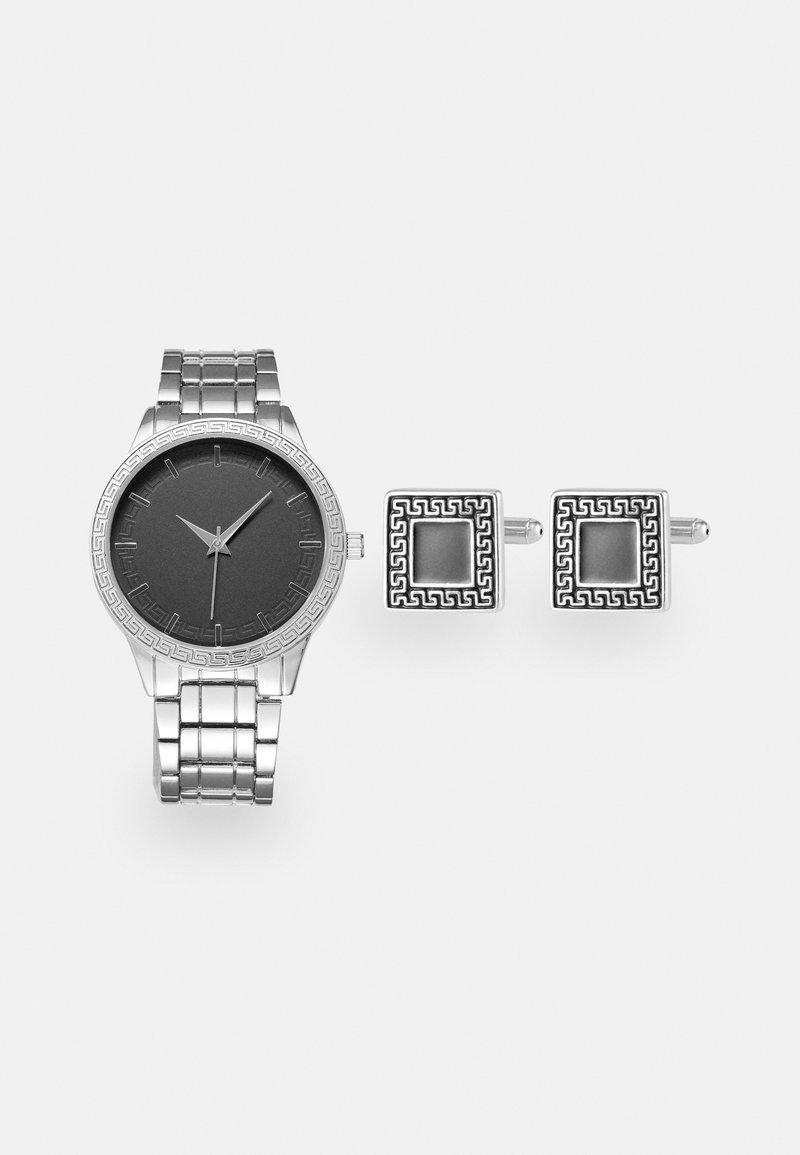Pier One - WATCH CUFFLINK SET MANSCHETTENKNÖPFE - Watch - silver-coloured