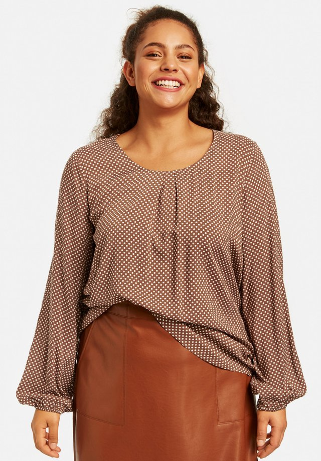 LONG SLEEVE - Blouse - coffee grain gemustert