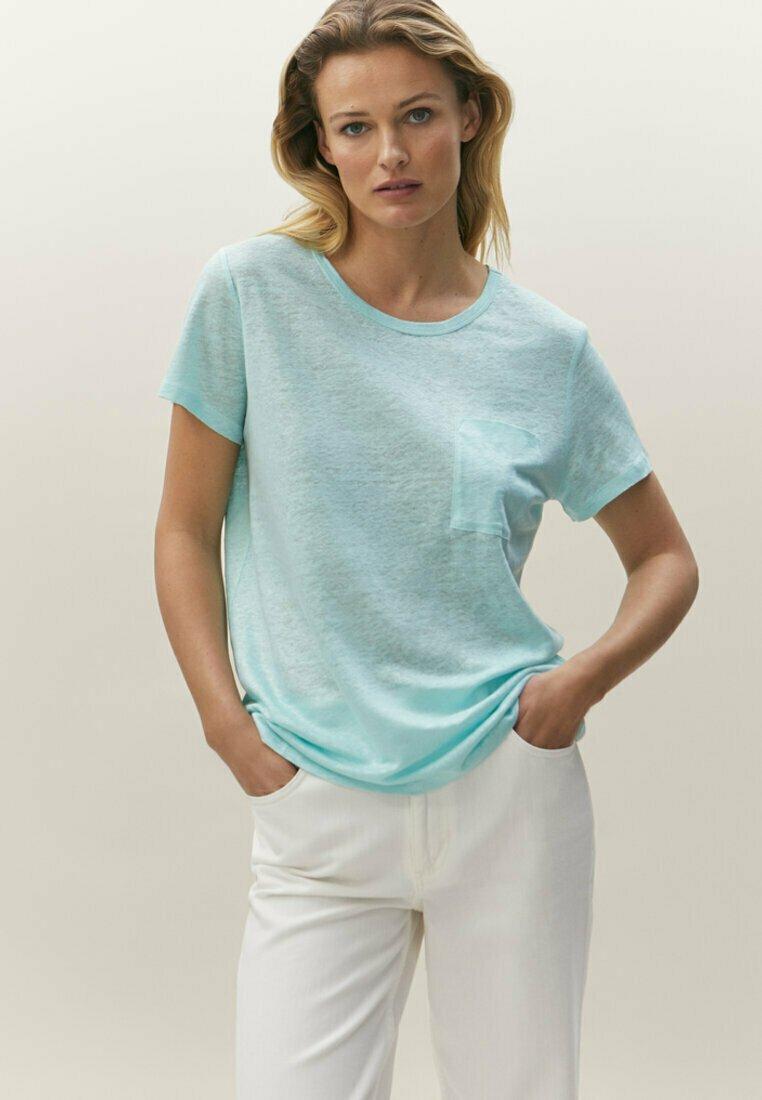 Massimo Dutti - Basic T-shirt - light blue