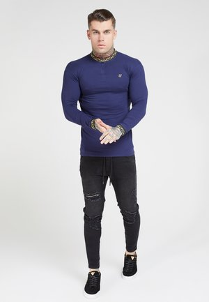 SIKSILK LONG SLEEVE CHAIN RIB COLLAR CUFF - Maglietta a manica lunga - navy
