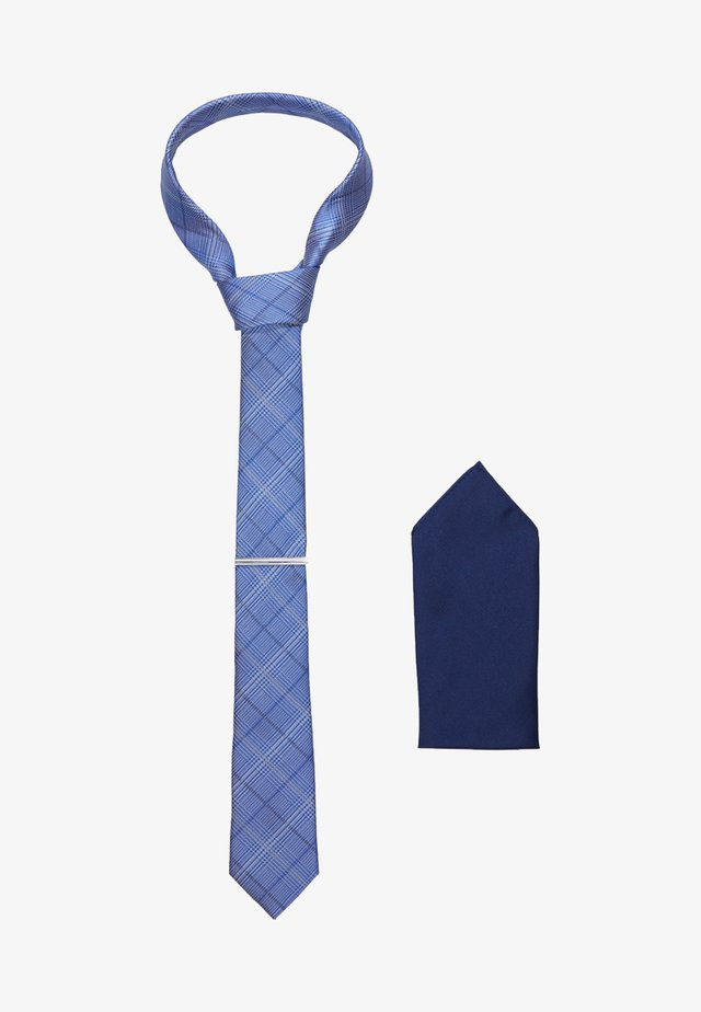 CHECK TIE WITH PIN HANKIE SET - Pochet - blue