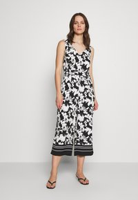 comma - OVERALL 3/4 - Jumpsuit - black/white - 0