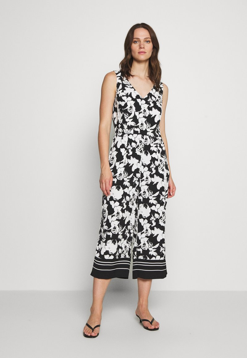comma - OVERALL 3/4 - Jumpsuit - black/white