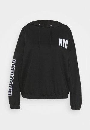 TOGGLE HEM PRINT HOODIE - Sweatshirt - black