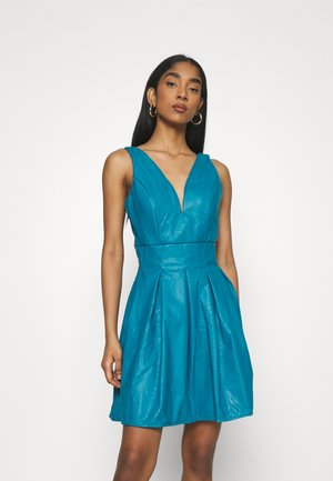 PLEATED SKATER DRESS - Robe d'été - teal blue