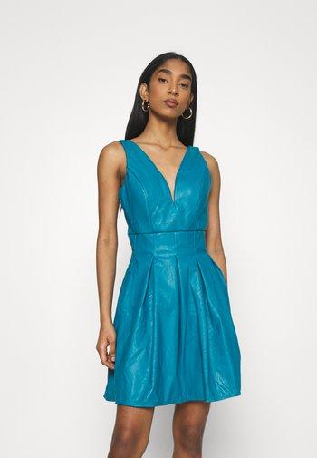 PLEATED SKATER DRESS - Vestido informal - teal blue