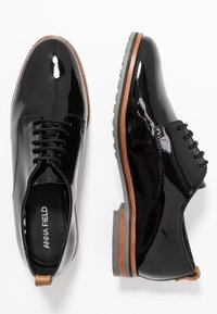 Anna Field - LEATHER FLAT SHOES - Lace-ups - black - 3