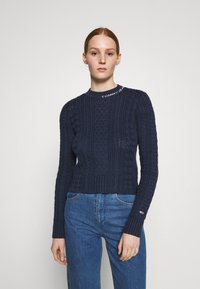 Tommy Jeans - BRANDED NECK CABLE - Pullover - twilight navy - 0