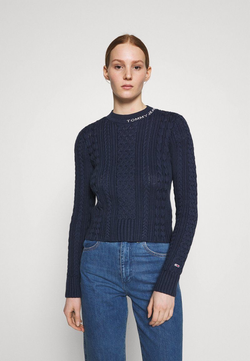Tommy Jeans - BRANDED NECK CABLE - Pullover - twilight navy