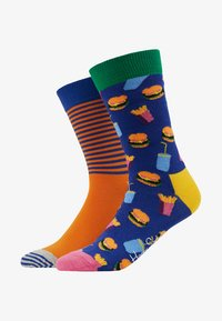 Happy Socks - HAMBURGER HALF STRIPE SOCK 2 PACK - Socks - black/multi-coloured - 1