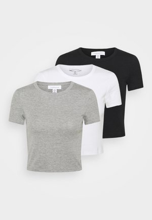 EVERYDAY TEE 3 PACK - T-shirt imprimé - black/white/grey
