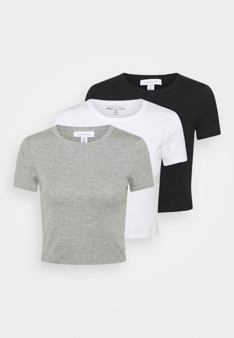 Topshop - EVERYDAY TEE 3 PACK - Print T-shirt - black/white/grey