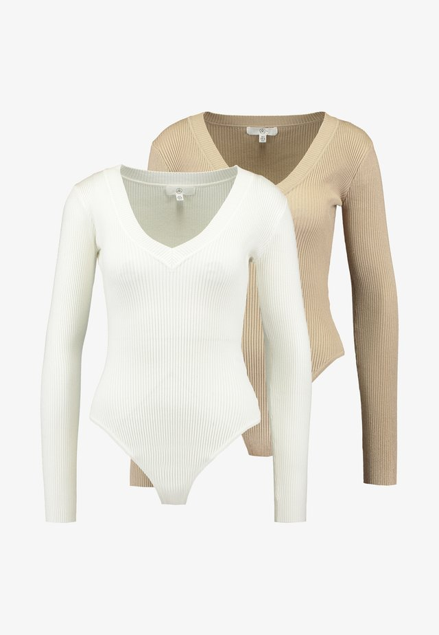 PLUNGE V NECK BODY 2 PACK  - Jumper - off white/sand
