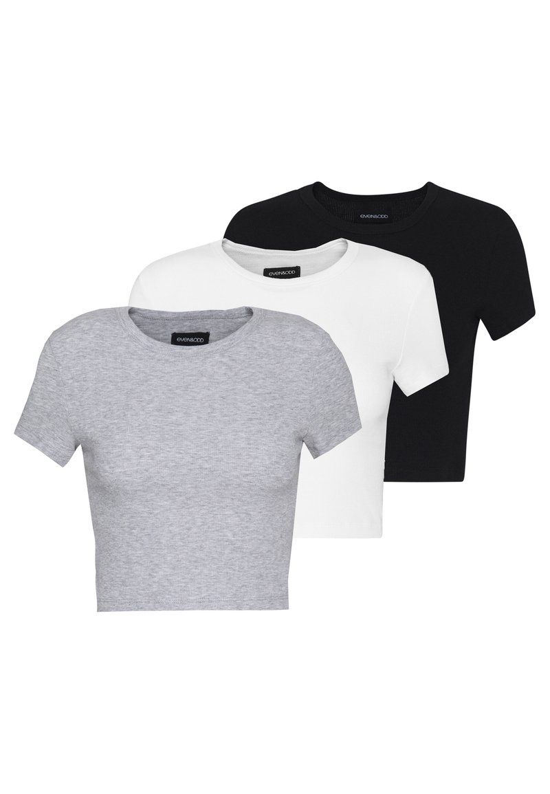 Even&Odd - T-shirt basic - white/black/light grey