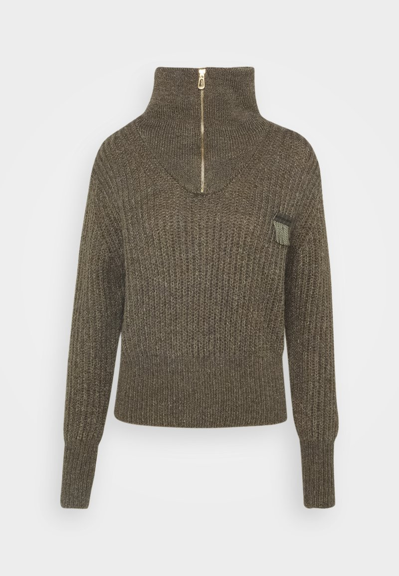 Scotch & Soda - ANORAK WITH SPECIAL YARN - Jumper - military green melange