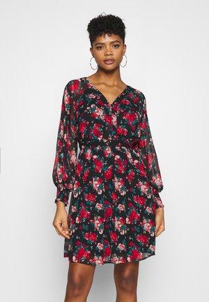 VIBROOKLY DRESS - Shirt dress - black/jester red