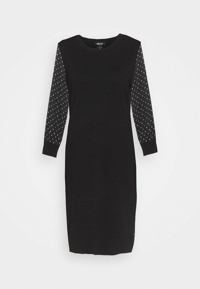 FOIL CREW NECK DRESS - Sukienka dzianinowa - black/silver