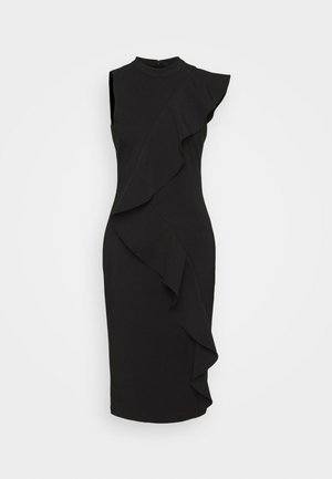 STRETCH WOVEN RUFFLE DRESS - Cocktailkjole - black