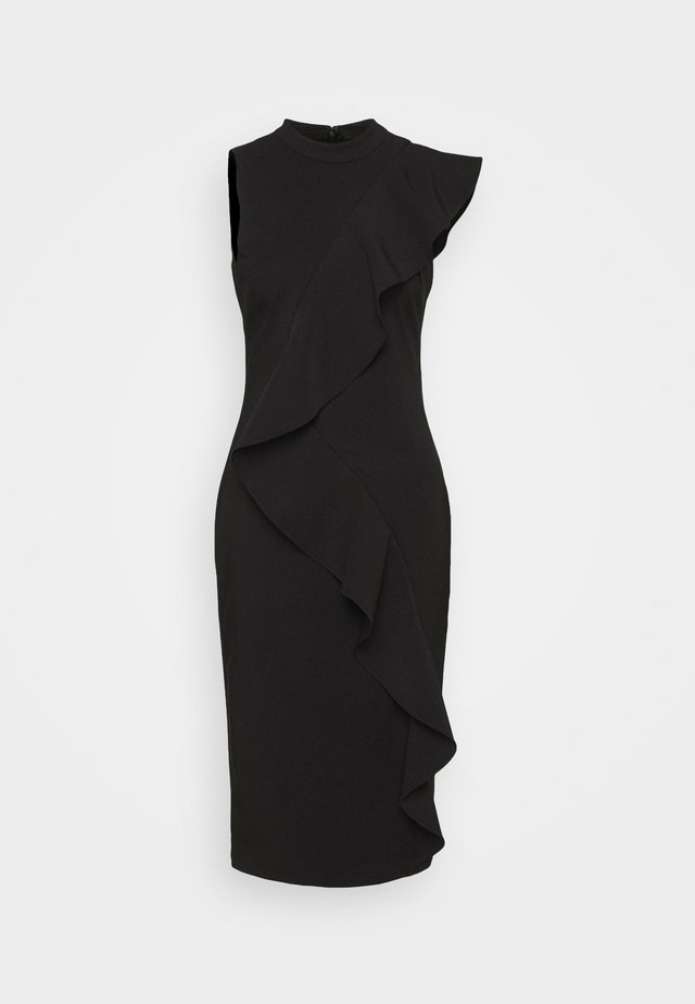 STRETCH WOVEN RUFFLE DRESS - Vestito elegante - black