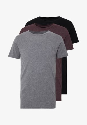 3 PACK - T-shirt basic - black/ grey melange/ bordeaux melange