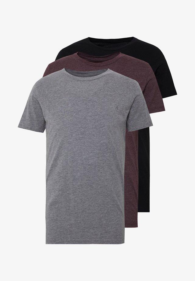 CREW TEE 3 PACK - T-shirt basic - black/ grey melange/ bordeaux melange