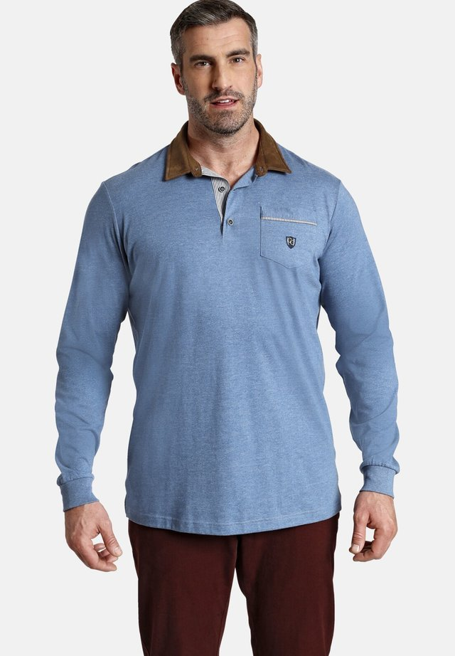 LONG SLEEVED - Polo shirt - blau melange