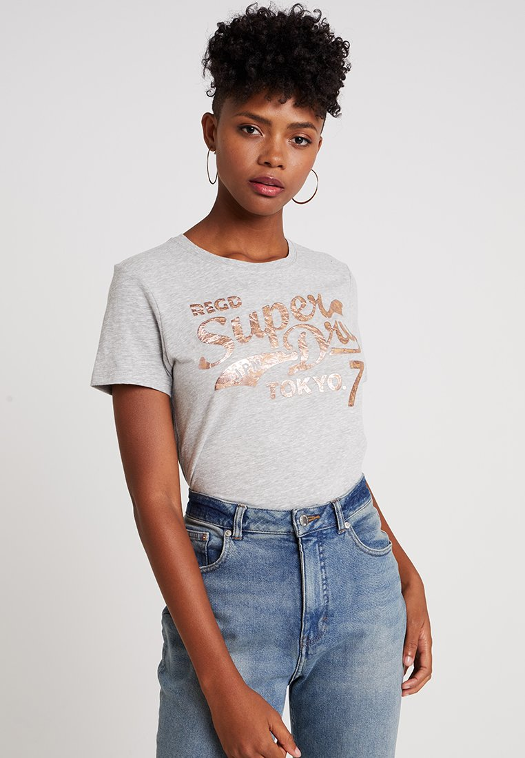 Superdry - TOKYO TEXTURED ENTRY TEE - Print T-shirt - grey heathered