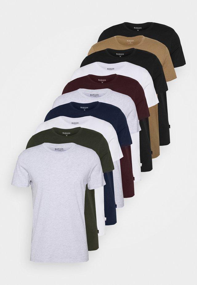 SHORT SLEEVE CREW 10 PACK - T-shirt basic - black/white/indigo