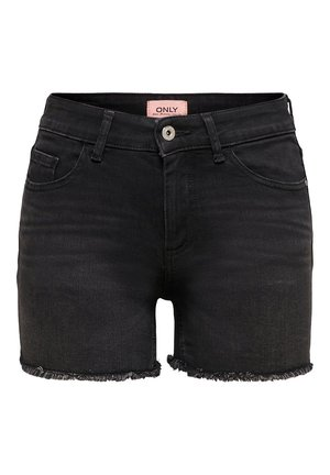 ONLBLUSH  LIFE MID RAW - Shorts di jeans - black denim