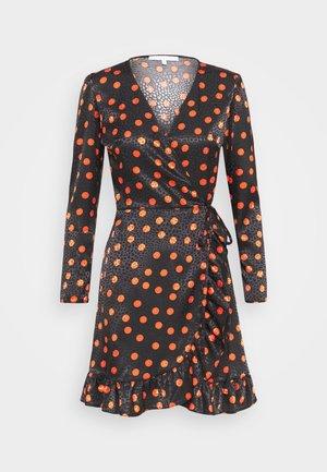 FRILL WRAP MINI DRESS WITH TIE - Day dress - black/red