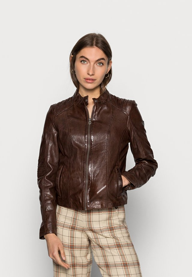 JUANA LONTV - Leather jacket - dark brown