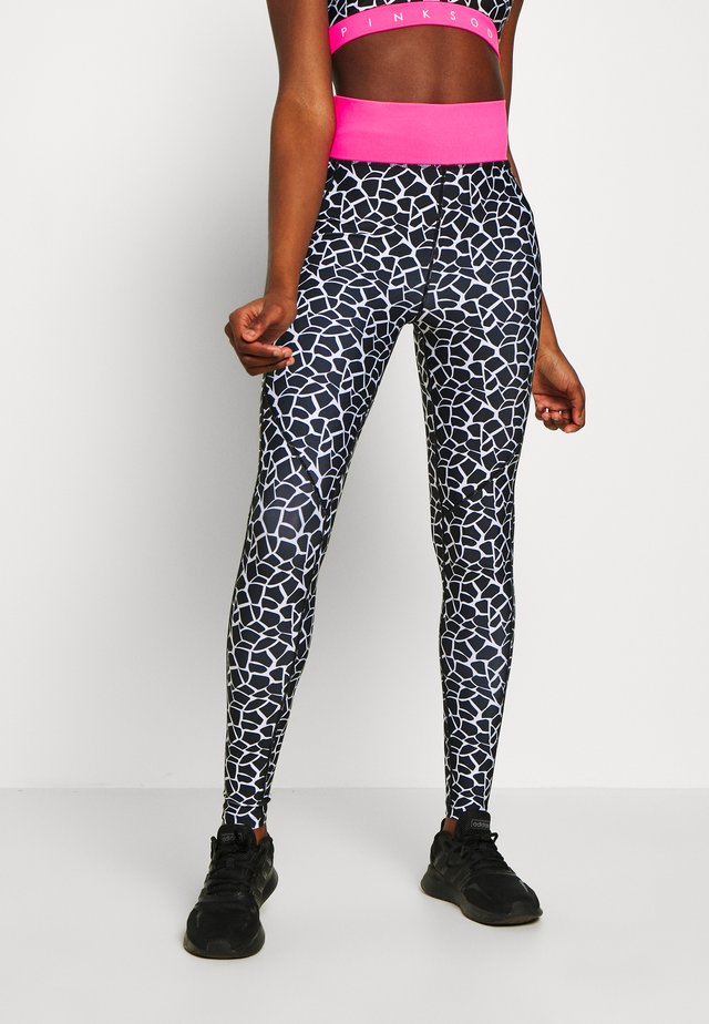 DECO TIGHT - Legging - black/white/ko pink