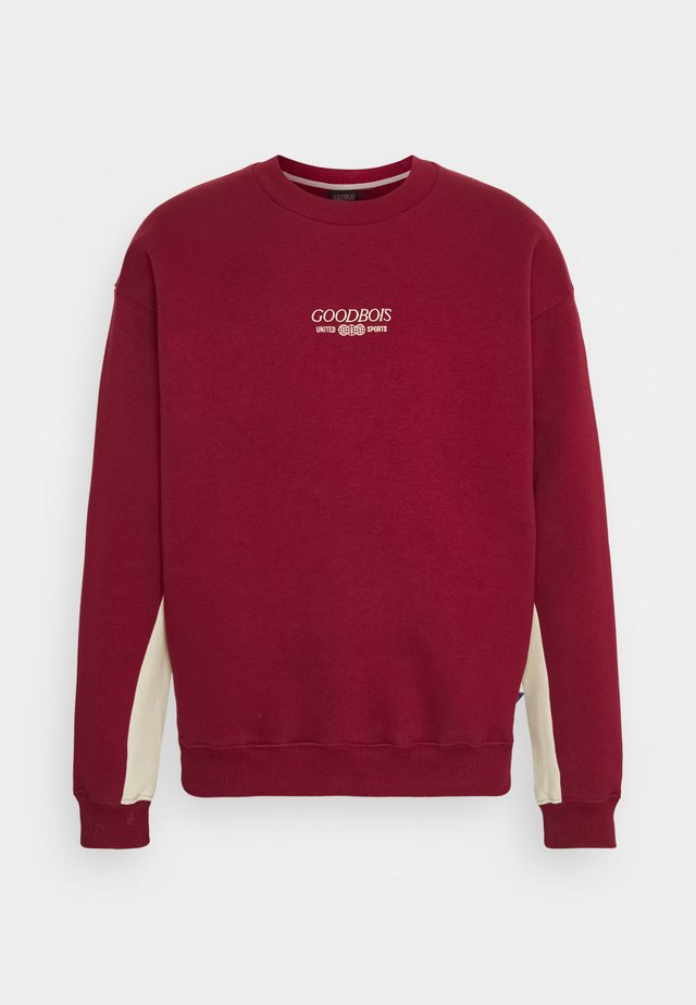 TRADEMARK BLOCK CREWNECK - Sweater - burgundy/beige