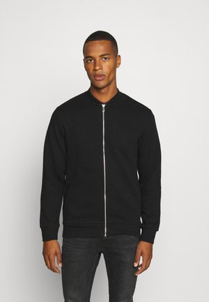 JJSTRUCTURE ZIP BASEBALL NECK - Felpa aperta - black
