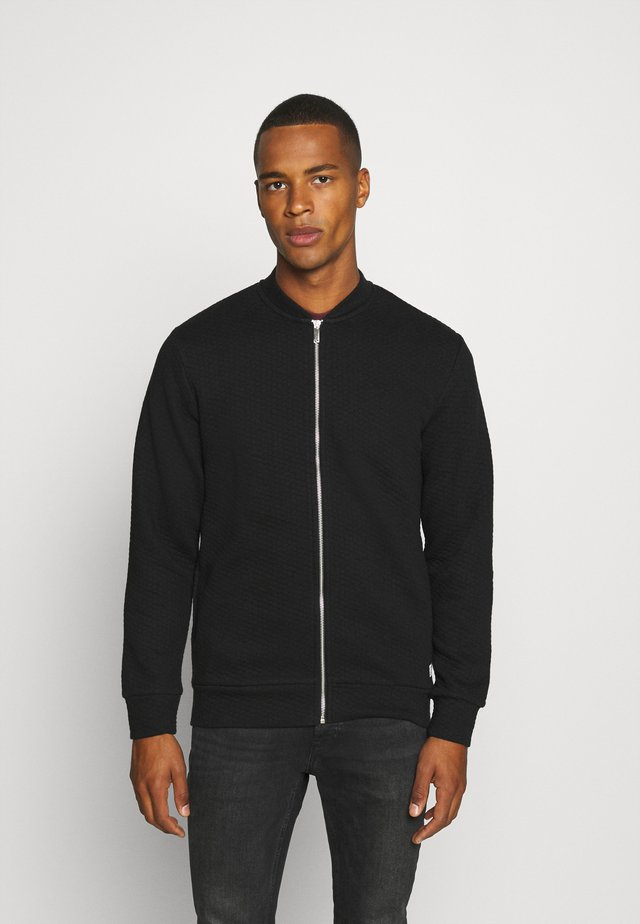 JJSTRUCTURE ZIP BASEBALL NECK - Sweatjacke - black