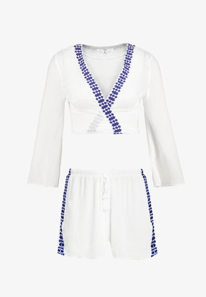 TASSEL DETAIL FLARED SLEEVE TIE FRONT - Beach accessory - white